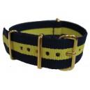 Bracelet nylon NATO Bleu/Jaune boucle doré