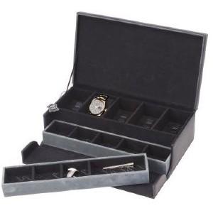 """Boîte à montres Beco """"Brandon"""" cuir véritable 5 montres + boutons de manchettes"""