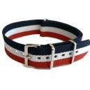 Bracelet nylon NATO Bleu/Blanc/Rouge