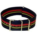 Bracelet nylon NATO Bleu/Jaune/Vert/Rouge
