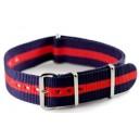 Bracelet nylon NATO Bleu/Rouge