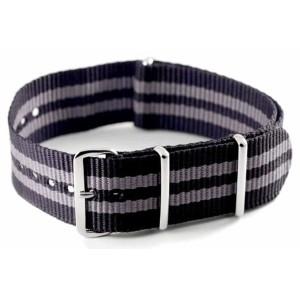 Bracelet nylon NATO Noir/Gris