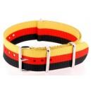 Bracelet nylon NATO Noir/Rouge/Jaune