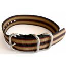 Bracelet nylon NATO ZULU Noir/Khaki/Rouge