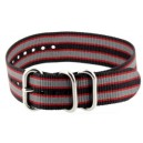 Bracelet nylon NATO ZULU Noir/Gris/Rouge