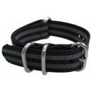 Bracelet nylon NATO ZULU EXTREME Noir/Gris