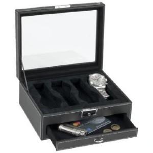 """Boîte à montres Beco """"Cecil"""" en cuir véritable pour 4 montres avec tiroir"""