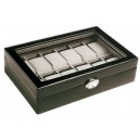 Coffre 12 montres Cuir véritable noir avec vitre